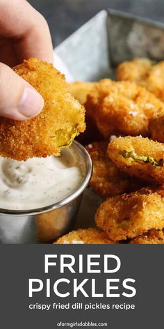 Fried Pickles from - Deep fried pickles are some of the best eats at the Minnesota State Fair And with my fried pickles recipe you can now enjoy this hot and crispy snack at home whenever you want Fried Dill Pickles, Fried Pickles Recipe, Deep Fried Pickles Batter, Baked Pickles, Crispy Dill Pickle Recipe, Tempura Recipe, State Fair Food, State Fair Party, Vegan Kitchen