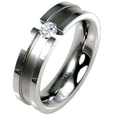 Stainless Steel CZ Fashion Ring