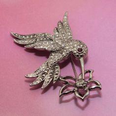 Vintage AVON Faux Marcasite Hummingbird Brooch Pin