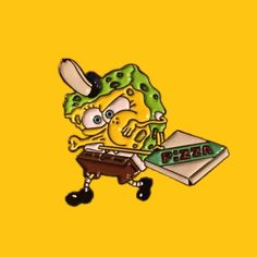 """""""Krusty Krab Pizza"""" Pin - Link in bio. Jacket Pins, Cool Pins, Pin And Patches, Mellow Yellow, Pin Badges, Lapel Pins, Swagg, Pin Collection, Creations"""