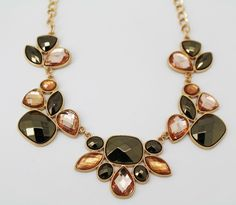 Style&co. Women's Jewelry Gold-Tone Bronze Bold Stone Frontal Necklace #Styleandco #Bib