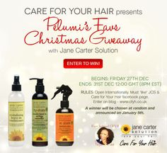 Join Pelumi, from Care For Your Hair, as she gives away one of her all time favorite products - Jane Carter Solution! Enter the Pelumi's Favs Christmas Giveaway the following ways:  1) Check out the full contest details and subscribe to Pelumi's blog, Care for Your Hair 2) Make sure you like our FB page 3) Like the CFYH Facebook page  More details on our FB page!
