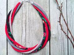 textile necklace statement fabric jewelry necklaces by Zojanka