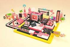 Official artwork for YouTube Space.I made 3D illustrations for them.They will be on display at YouTube Space Tokyo, YouTube Space NY, London, LA....as well