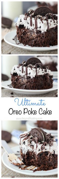 There's no sharing this Oreo Dirt Cake! This easy chocolate poke cake is soaked in hot fudge and covered with a Chocolate Oreo Mousse also known as dirt. Mini Desserts, Just Desserts, Delicious Desserts, Desserts With Oreos, Plated Desserts, Chocolate Cake Mixes, Chocolate Desserts, Chocolate Chips, Poke Cake Recipes Chocolate