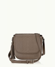 Driftwood Kelly Saddle Bag | Embossed Python Leather | GiGi New York