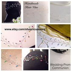 """Custom Order: You choose color of beads & wire.   Measures approximately 10"""" - 12""""length  1"""" - 1.5"""" width. Use bobby pins & or ribbon (included) put through the wire loop ends to wear & secure in your hair. You can also wear across your forehead, around a bun, side piece or back piece. You can gently bend the vine and bead branch. When your receive your item gently adjust them to your fit & hair style.   Custom orders: headband is designed with 5 feet of silver, gold, or copper wire…"""