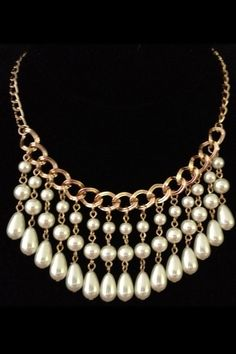 Lolita Jewelry Pearl Chain Bib Statement Necklace -