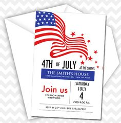 ON SALE Patriotic 4th of July Invitation Fourth of by AsherPrints