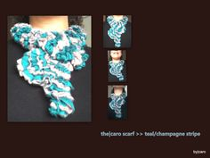 The Caro Scarf  Blue Champagne Striped Ribbon by DesignsByCaro, $25.00