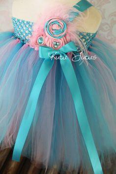 The Cotton Candy Tutu Dress- Pink, Turquoise, Birthday, 1st birthday, Girl, Newborn, Infant, cake smash, photo prop. $73.95, via Etsy.