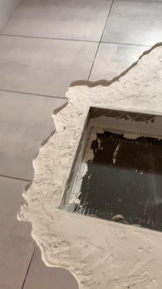 Stone Shower Floor, Concrete Shower, Rock Shower, House Window Design, House Design, Outdoor Toilet, Mobile Home Makeovers, Affordable House Plans, Tile Layout