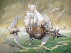 Airship painting by Jarosław Jaśnikowski. Steampunk Ship, Steampunk Kunst, Steampunk Pirate, Zeppelin, Fantasy Kunst, Fantasy Art, Diesel Punk, Steam Punk, Fantasy Landscape