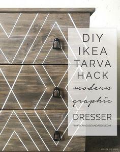 DIY Ikea Hack - Modern Graphic Tarva Dresser | One Room Challenge | ahouseandadog.com