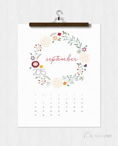 Downloadable September 2015 Calendar