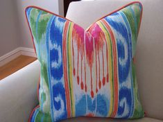 CUSTOM PIPING COLORS Outdoor Bright Multi Color Ikat  Pillow