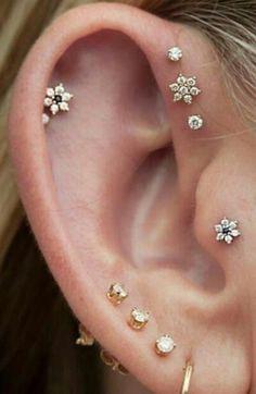 Cute Multiple Ear Piercing Ideas at MyBodiArt.com - Triple Forward Helix Studs - Tragus Earring - Cartilage Studs - Felicity Crystal Flower Earrings at MyBodiArt.com