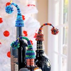 How bout a Nightcap? Free Knitting Pattern perfect for New Years gifts Knitting Yarn, Free Knitting, Knitting Patterns, Father Birthday Gifts, Gifts For Father, Homemade Christmas Decorations, Diy Christmas Gifts, Yarn Storage, Knit Stockings