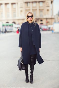 Love the simplicity of this coat, and the black and navy combo.  from TheyAllHateUs