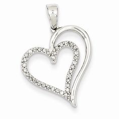 14k White Gold Genuine Diamond Heart Pendant
