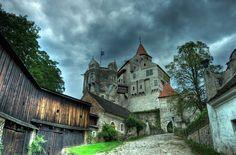 Pernštejn Castle (Czech: hrad Pernštejn) is a castle located on a rock above the village of Nedvědice and the rivers Svratka and Nedvědička, some 40 km northwest of Brno, in the South Moravian Region, Czech Republic.