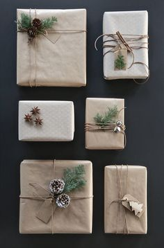 christmas gift wrap ideas - pine cones and bells
