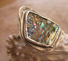 Rainbow Iridescent Ancient Bactrian Glass and Sterling Silver Ring
