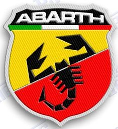 FIAT - ABARTH 5.0 - IRON ON 100% EMBROIDERED EMBROIDERY PATCH - AUTO CAR 2 X 2 INCHES 100% EMBROIDERED PATCHES - SEW IT ON OR IRON IT ON OR JUST ADD TO YOUR COLLECTION