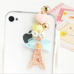Amazon.com: Wisedeal Princess Korea Style Eiffel Tower Flower Heart Crystal Earphone Jack / Dust Plug for Apple Iphone 4, 4s, 5 /Samaung i9100 i9300 / ipad / ipod touch /Mac tap / other 3.5mm Ear Jack: Cell Phones & Accessories