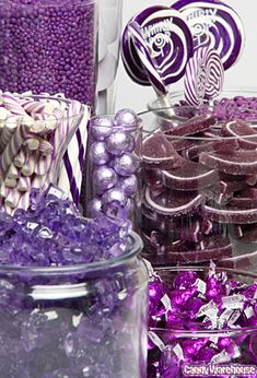Lots of good info if you are doing a candy buffet, also this website sells bulk candy by color. Candy buffets are cool, but i think i'll also have a bacon bar for the bestie, Tegan Purple Candy Buffet, Candy Buffet Tables, Candy Table, Dessert Table, Candy Bar Wedding, Wedding Favors, Our Wedding, Dream Wedding, Wedding Ideas