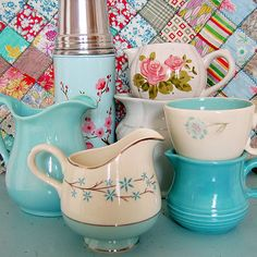 Wonderfully cheer aqua and turquoise hued kitchen wares. #vintage #aqua #turquoise #kitchen #home #decor #creamer #floral #shabby #chic