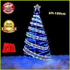 pre lit pop up christmas tree 6ft ribbon folded xmas led lights holiday decor uk