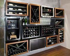 Contemporary Wine Rack | Wine Room Design | Wine Fridge | Bar Display