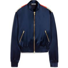 Mulberry Tammy Bomber Jacket (€325) ❤ liked on Polyvore featuring outerwear, jackets, navy, blue sports jacket, satin jackets, vintage bomber jacket, navy sport jacket and navy blue jacket
