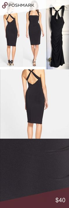 Body Con Dress - Laundry by Shelli Segal Body con dress by Laundry by Shelli Segal. Dress is ruched and has built in breast pads. This little black dress is a classic and can be worn all season. See pictures to appreciate. Retails at $195 Laundry By Shelli Segal Dresses Midi