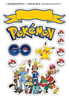 – Oh My Fiesta! for Geeks Pokemon: Free Printable Cake Toppers. – Oh My Fiesta! for Geeks Cake Pokemon, Pokemon Cake Topper, Pokemon Cupcakes, Pokemon Birthday Cake, Diy Cake Topper, Birthday Cake Toppers, Bolo Pikachu, Pikachu Cake, Pokemon Printables