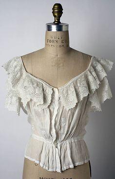 Corset cover Date: 1900–1903 Culture: American Medium: linen Dimensions: Length at CB: 14 1/4 in. (36.2 cm)