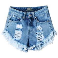 Mljsh Women's Juniors Destroyed Denim Light Blue High Waist Distressed... ($26) ❤ liked on Polyvore featuring shorts, cut-off shorts, high-waisted cut-off shorts, distressed shorts, high-waisted shorts and distressed high waisted shorts