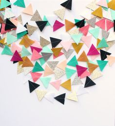 Design your own custom felt and glitter triangle garland perfect for your special event or just to brighten up your home! The triangles are hand-cut from felt and glitter card stock and are aprrox. 2 inches wide. Its so simple to order your custom garland! Heres how:  1) select the length and quantity youd like 2) leave a note at checkout of the colors youd like (you can see the choices on the second page) 3) thats it! Ill have your custom garland in the mail to you within 7-10 days.