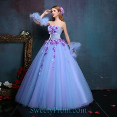 Tulle Strapless Blue And Purple Fairy Dresses With Flowers,Fancy Dresses-Fancy Dresses Flower Dresses, Ball Dresses, Cute Dresses, Beautiful Dresses, Ball Gowns, Casual Dresses, Fashion Dresses, Prom Dresses, Wedding Dresses