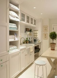 Shelving for new laundry room. Add storage to keep extra towels, sheets, all linens really...
