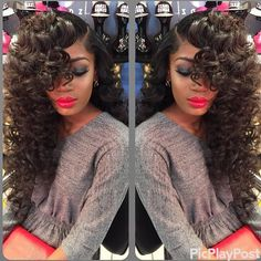 Bouncy curls with a sew in