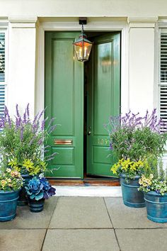 Give guests a warm welcome with friendly tones of green, gray, and blue. This grand double-door entry is balanced by its easygoing, leafy hue and simple carving. The weathered patina of the pendant lantern suggests a home that's mellowed over time.Paint Color: Tradd Street Green (DCR090)