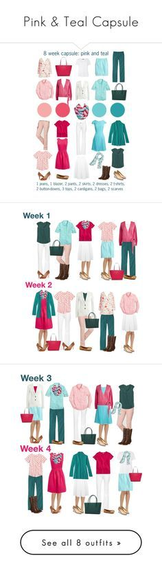 Pink & Teal Capsule by kristin727 on Polyvore featuring L.L.Bean, J.Crew, DL1961 Premium Denim, Miss Selfridge, Kate Spade, Sylvia Alexander, MaxMara, Ivanka Trump, Tory Burch and Cole Haan