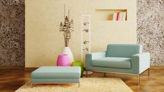 Light Blue Sofa in Modern Living Room with Colorful Vases as Accessories and Wooden Branches