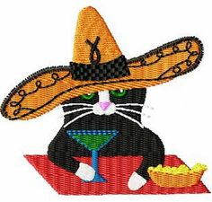 Mexican Hat Cat Embroidery Design