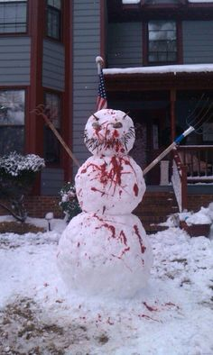 All-American Zombie snowman (DIY) ketchup for the blood. (Your neighbors might not talk to you for a while)