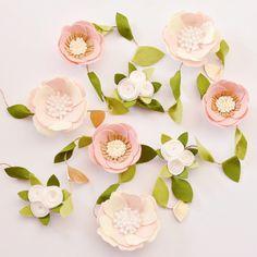 Felt floral garland // nursery decor blush pink white gold