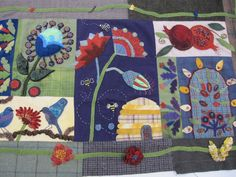 Jean finished her Crimson Tweed quilt. Now quilted and just needs a binding.