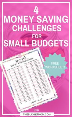 4 Money Saving Challenges for Small Budgets via The Budget Mom 52 Week Savings Challenge, Money Saving Challenge, Money Saving Tips, Money Tips, Savings Plan, Retirement Savings, Budgeting Money, Saving Ideas, Ways To Save Money